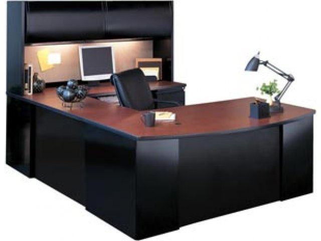 Exec u shaped office desk with hutch csii 7265 office desks for Oficina hertz