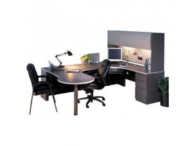 Peninsula U Shaped Office Desk With Hutch