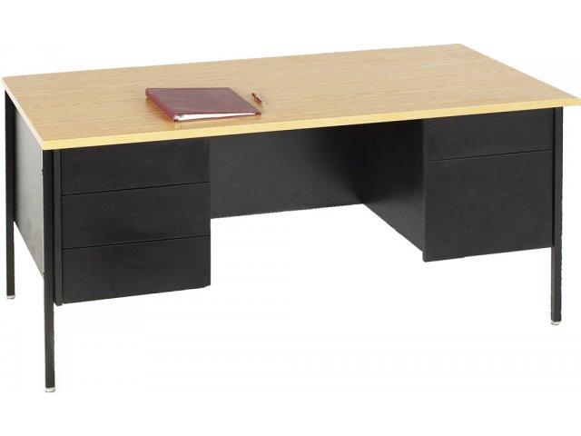 Double Pedestal Teachers Desk Steel Legs 60x30
