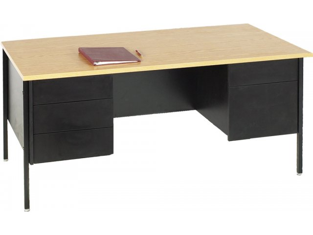 Modern Classroom Model ~ Double pedestal teachers desk steel legs quot x