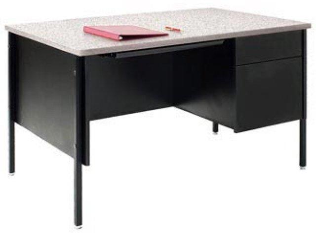"""Single Pedestal Teachers Desk Steel Legs 48""""x30"""