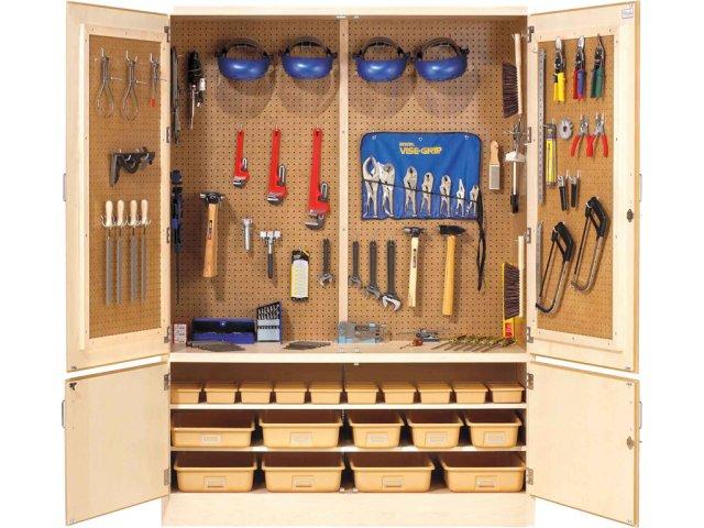 Pegboard Tool Storage Cabinet W Holders