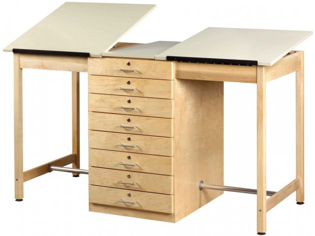 Twin Drafting Table 8 Drawers