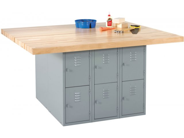 4 Station Steel Workbench W 12 Lockers Maple Top Dwb 12