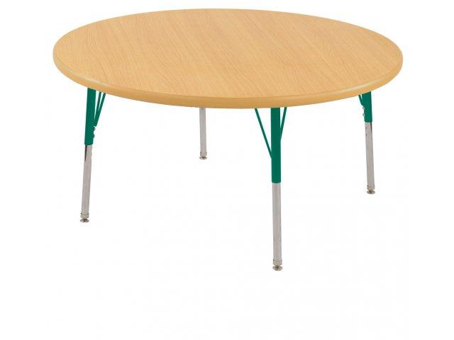 Adjustable Height Round Table.Adjustable Height Round Classroom Table Chunky Legs 36 Dia