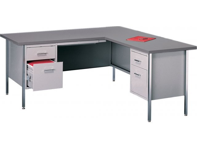 steel secretary l desk w right return ecd 3066r office desks