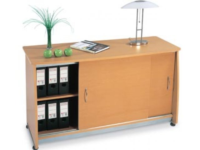 Office Credenza With Doors : Europa locking office storage credenza with sliding doors