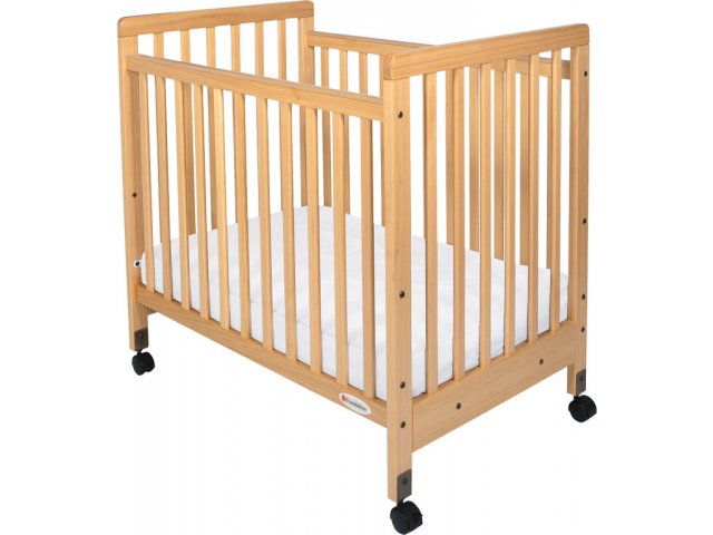 Safetycraft compact fixed side crib slatted w mattress fnd 1631 daycare cribs - Compact cribs small spaces model ...