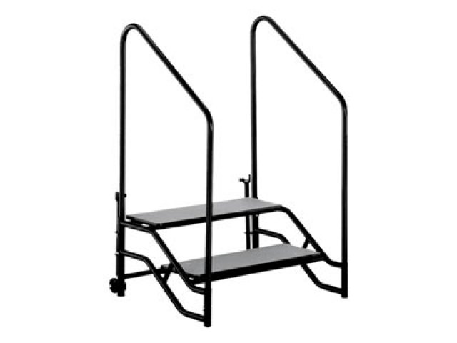 Portable Handicap Rails : Portable steps with handrails for h or mobile stage