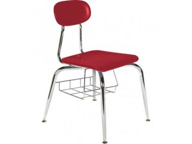 Hard Plastic Stackable School Chair - Book Basket 18.75\
