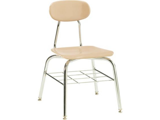 Deluxe Hard Plastic Stackable School Chair With Bookrack