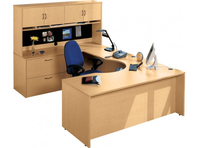 Hyperwork Curved-Corner U-Shaped Office Desk HPW-1100, Office Desks
