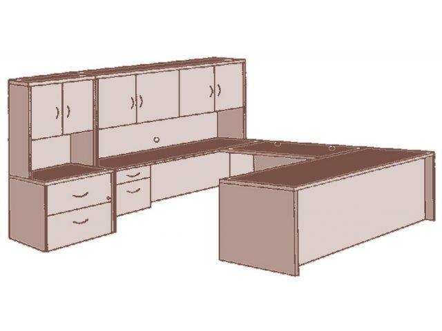 hyperwork left executive u shaped office desk hpw 1200l office desks. Black Bedroom Furniture Sets. Home Design Ideas