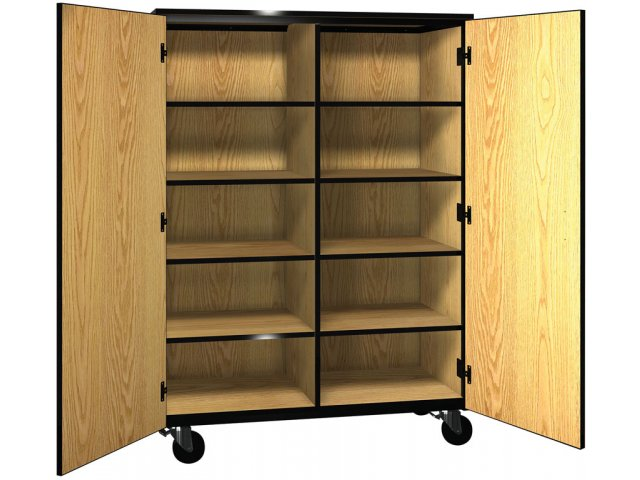 Mobile Cubby Storage   8 Adj Shelves, Locking Doors, 66