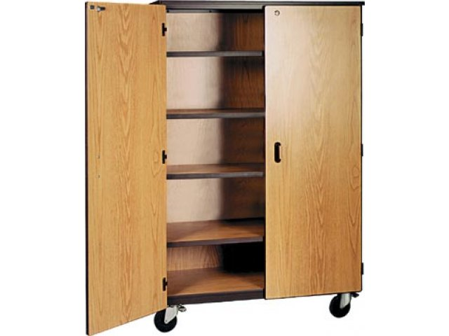 Mobile Storage Cabinet 4 Adj Shelves Locking Doors 66