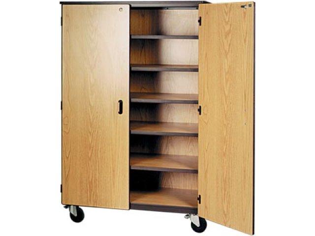 Mobile Storage Cabinet 5 Shelves Locking Doors 72H