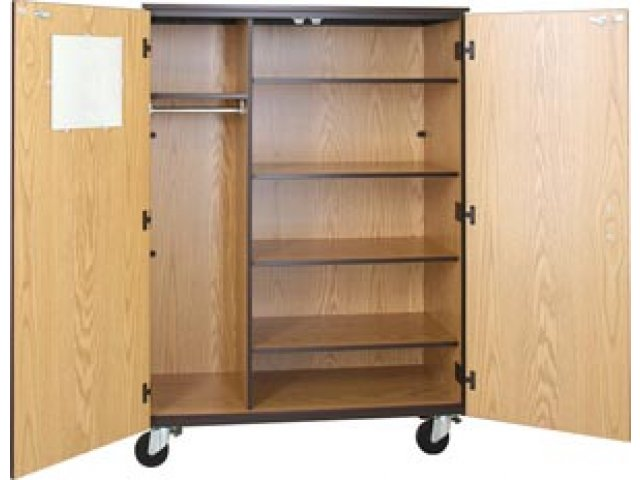 Superior Locking Mobile Wardrobe Storage Closet  4 Adj Shelves, 66