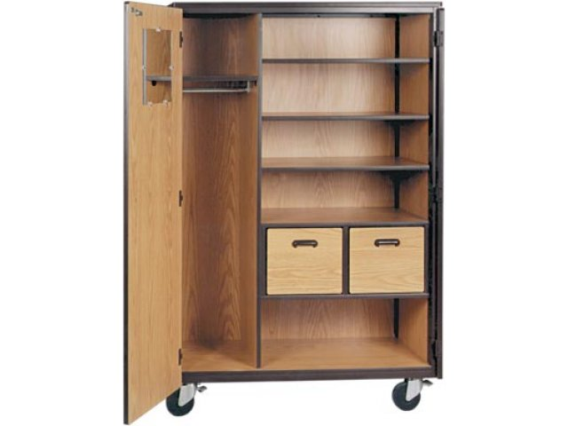 Mobile Wardrobe Storage Closet 3 Shelves 2 Drawers 72
