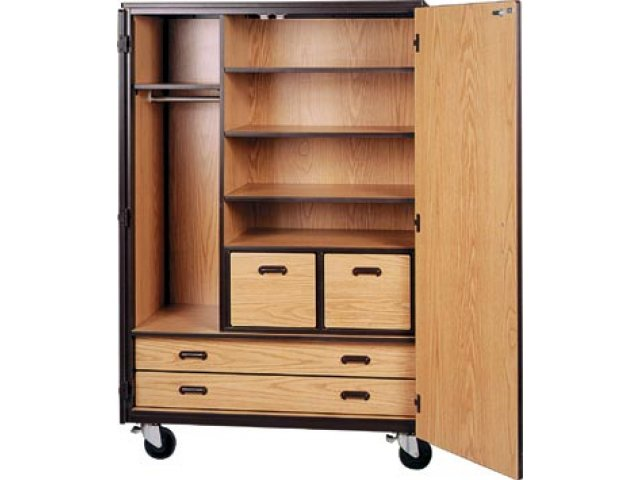 Mobile Wardrobe Storage Closet 3 Shelves 4 Drawers 72h Irw 1089