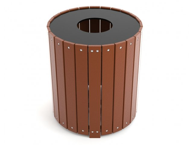 Round Resin Trash Receptacle 32 Gal Outdoor Trash Cans