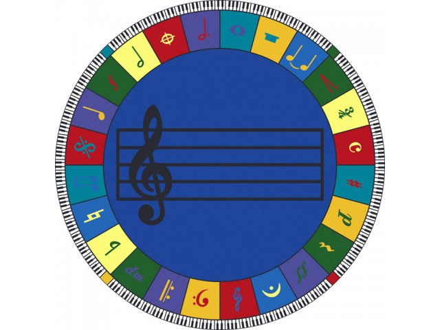 Note Worthy Elementary Round Carpet 13 2 Quot Dia Music Rugs