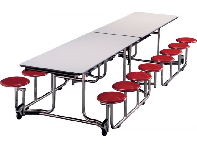 Uniframe Mobile Cafeteria Table 16 Stools Chrome Frame