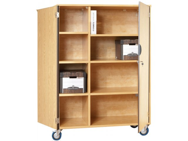 Mobile Storage Cabinet With Doors 6 Shelves W Partition
