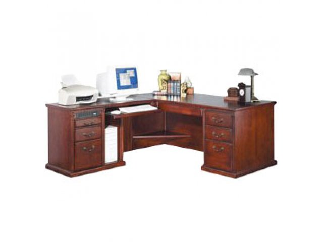 l shaped office desk w left return in cherry mac 684lc