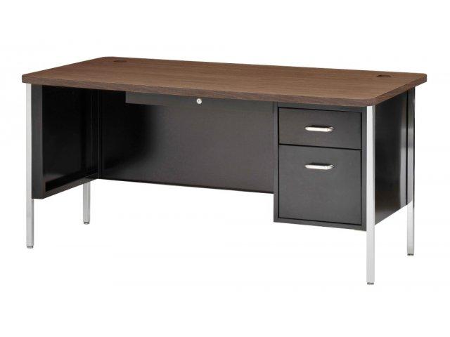 """Single Pedestal Metal Teachers Desk 60""""x30"""" Teacher Desks"""