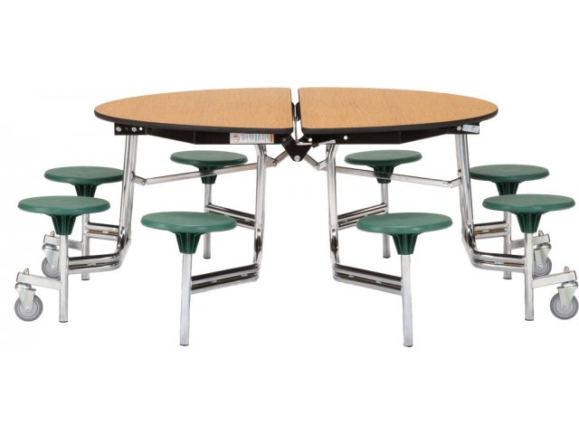 Nps Folding Round Cafeteria Table Chrome 8 Stools Mtr