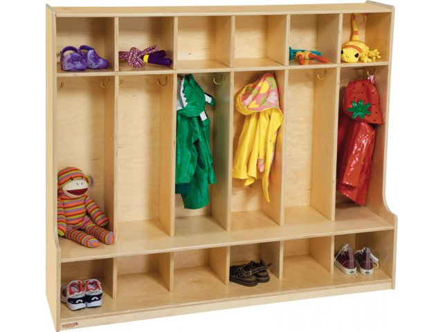 Wood Preschool Locker 6 Section Offset Edge Pre 51006d Preschool Lockers
