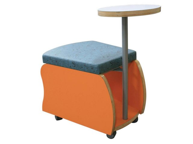 Great Rojon Mobile Soft Seating Storage Stool With Tablet Arm