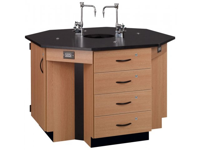 4 Student Octagon Island Table With Sink Epoxy Top