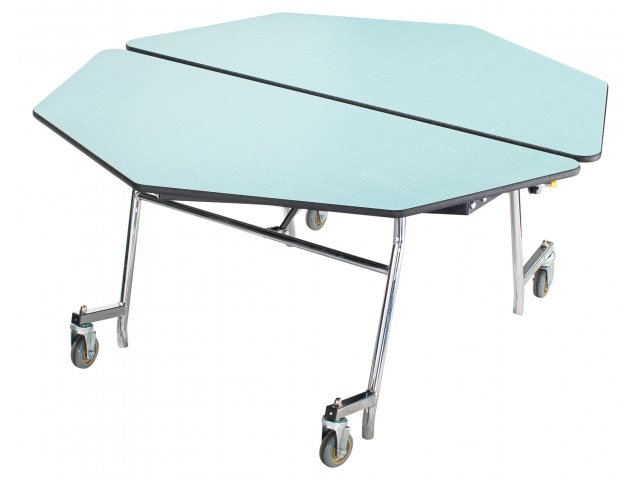 Octagon Cafeteria Table   MDF, ProtectEdge, Chrome