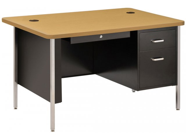 """Single Pedestal Metal Teachers Desk 48""""x30"""" Teacher Desks"""