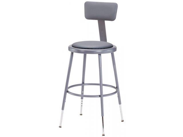 Nps Adjustable Padded Metal Lab Stool With Backrest 19 27