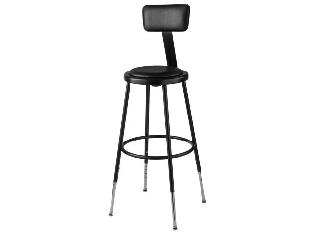 Nps Adjustable Padded Metal Lab Stool With Backrest 25 33