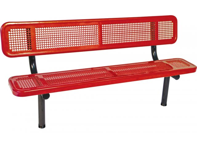 6 39 Team Bench With Back Perforated Surface Upb 720b Bleachers Team Benches