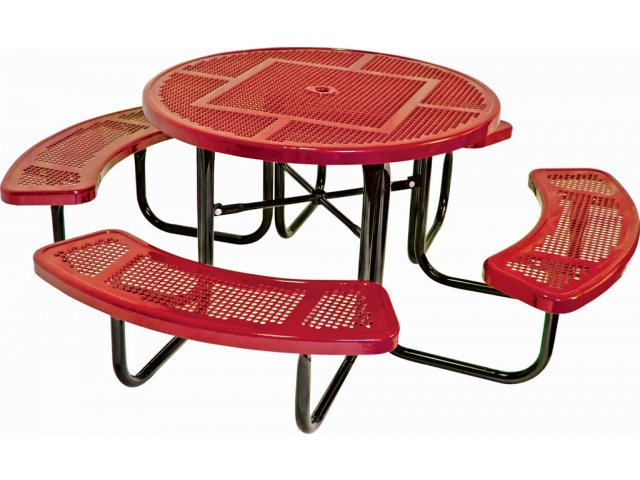 46 Inch Round Picnic Table With Perforated Surface
