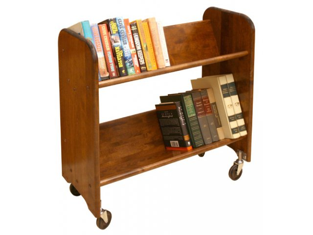 Wood Book Cart 2 Tilted Shelves In Walnut WBC 334