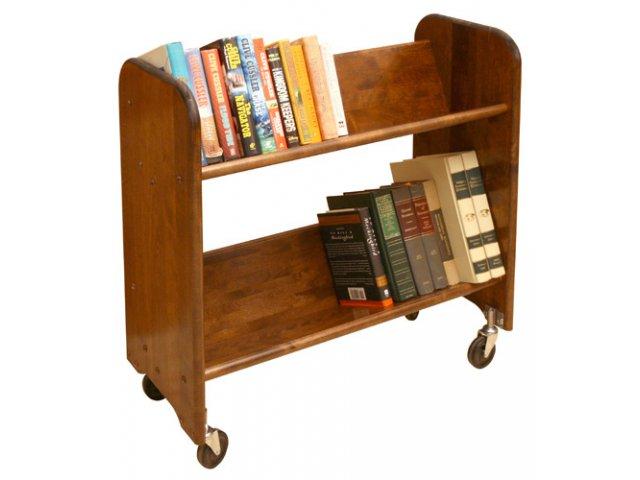 Wood Book Cart 2 Tilted Shelves In Walnut WBC 334