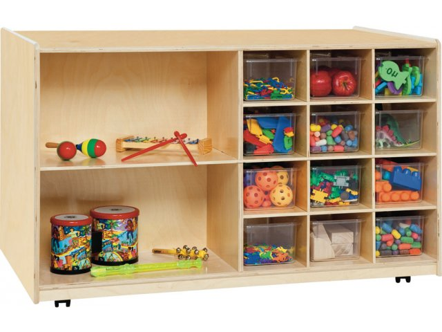 Double Sided Classroom Cubby Storage W Clear Cubby Bins