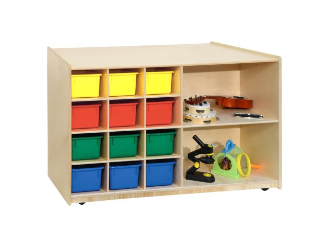 Double Sided Classroom Cubby Storage W/ Colored Cubby Bins
