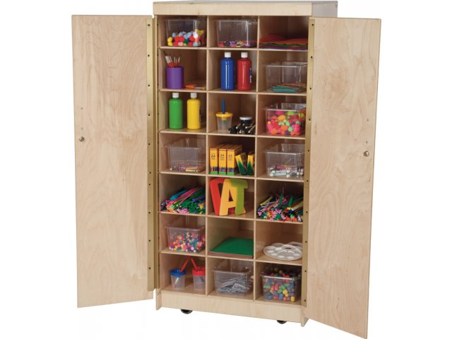 Mobile Wooden Teacher Cubby Storage Cabinet W Bins Wde