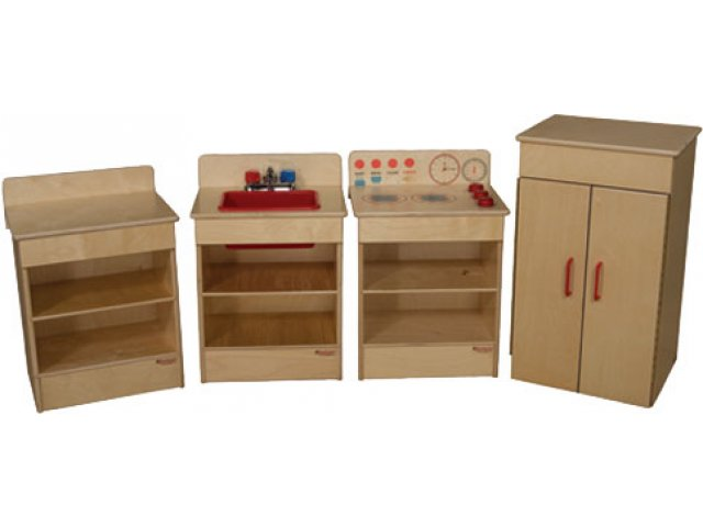Wooden Toddler Play Kitchen Set 4 Appliances Wde 20000 Dramatic Play Furniture