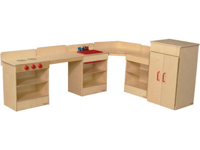 Wooden Toddler Play Kitchen Set 4 Appliances 2 Counters Wde 20006 Dramatic Play Furniture