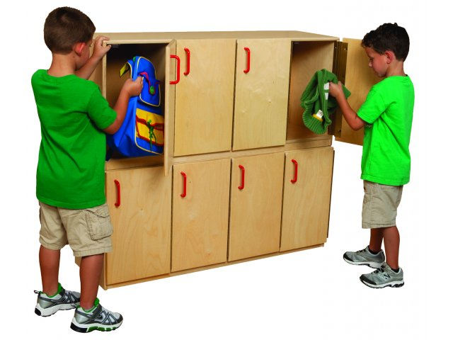 Four door wood toddler locker wde 46300 preschool storage for Wood lockers with doors