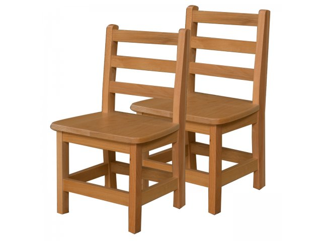 Ladder Back Wooden Preschool Chair Set of 2 12H Seat Preschool