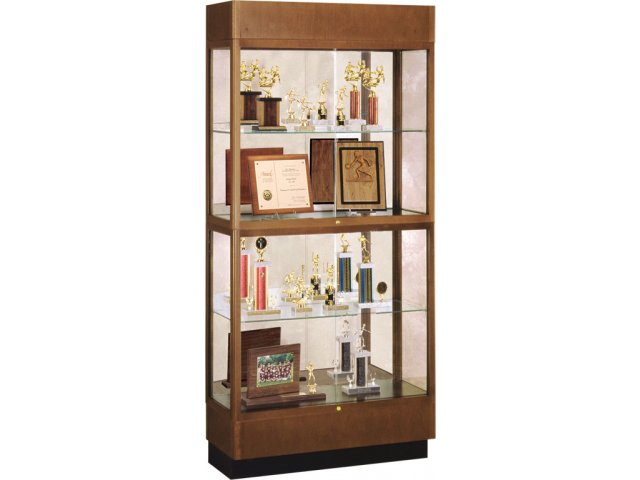Hard Wood 2 Tier Trophy Cabinet Mirror 36Wx70H amp Display