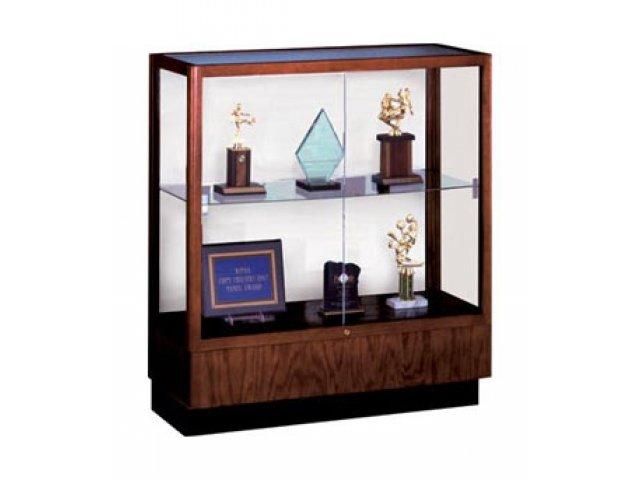 Oak Trophy Cabinet   White Laminate Back